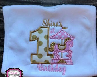 Carousel Bib, Carousel Horse Birthday, Cake Smash, Carousel Birthday, Personalized Bib, Birthday Bib, First Birthday, Girl First Birthday
