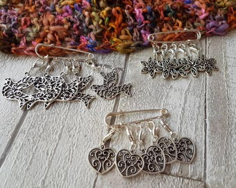 Stitch markers,  dove stitch markers, flower stitch markers, heart progress keepers, knitting stitch markers, crochet stitch markers, uk