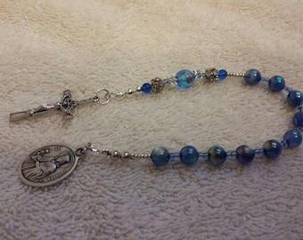 Blue Beaded St Barbara Single Decade Rosary