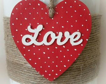 Dotty Love Heart - Red & White