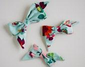 Aqua floral Mae bow headband or clip
