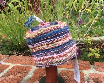 Hand Knit Multi Accordion Beanie Hat 12-18 mos.