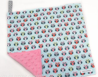 """Baby Lovey Blanket - Pink and Aqua Owls Lovey 15""""x15"""" - Ready to Ship"""
