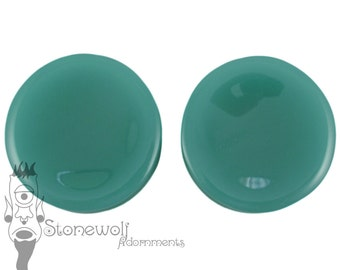 Mint Opalite Concave 52 Plugs for Stretched Ears Piercings Handmade - Ready to Ship