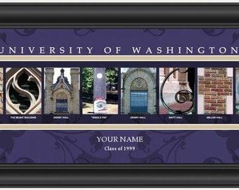 PERSONALIZED & FRAMED NCAA Washington Huskies Letter Art Sports Prints