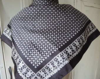 Vintage acetate scarf black and white classic  26 x 27 inches