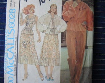 vintage 1970s McCalls sewing pattern 6028 misses  top camisole skirt and pants size 10