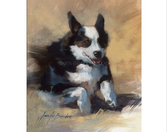 Corgi Dog Art - Matted Print of Original Oil Painting- Dogs, Animal Lovers, Black and White, Running, Happy, Gifts