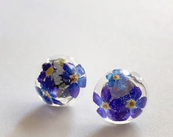 Real English Purple Forget Me Not Flower Studs Earrings 1.3 cm