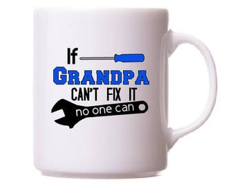 If grandpa can't fix it decal, father's day gift, mr fix it decal, gift for grandpa, grandpa mug, grandpa gift, tumbler decal, gift for him