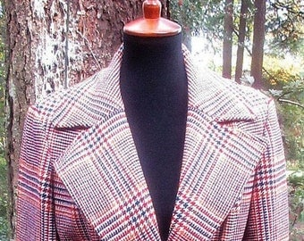 Pendleton 100% Virgin Wool Plaid Houndstooth Coat/Wool Belted Plaid Brown Purple Very Pretty Ladies Coat