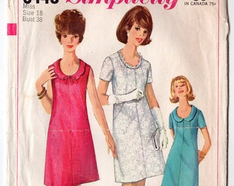 """Simplicity Size 18 One Piece Dress Vintage Sewing Pattern [Simplicity 6440] Scalloped Collar, Bust 38"""""""