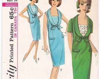"FF 1960s Misses' Slim Dress with DETACHABLE Vestees Low Round Neck Vintage Sewing Pattern [Simplicity 5820] Size 14, Bust 34"", UNCUT"