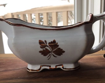 Antique Ironstone Copper Tea Leaf Gravy Boat