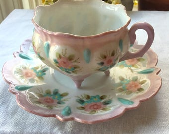 Sweet Teacup and Saucer Set Hand Painted Porcelain Four Footed Pink Roses Teacup Pink and Aqua Teacup