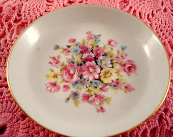 Vintage Bareuther Walsassen Bavaria Germany Demitasse Saucer Pink Floral Saucer Ring Holder