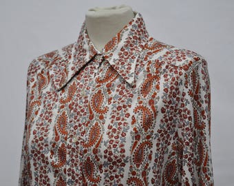 Womens 1970s Paisly Disco Shirt (DOWN FROM 29.99)