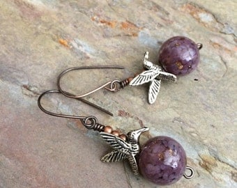 Vintage putple glass and silver bird earrings