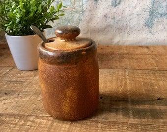 McCoy Sugar Jar, Spice Jar, kitchen decor, pottery, vintage pottery, silver spoon