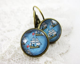 Tiny Ship Leverback Earrings, Vintage 1981 USA Postage Stamp, Nautical Jewelry, Antique Bronze, Nickel Free, Boats, Set Sail, Gift for Grad