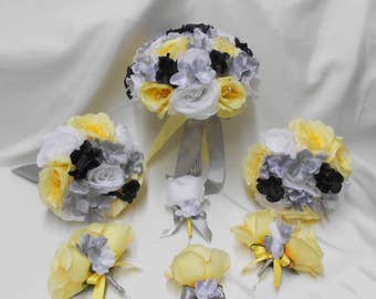 Wedding Bridal Bouquets Your Colors 18 pcs Package Canary Yellow Black White Silver Toss Bridesmaids  Boutonniere Corsages FREE SHIPPING