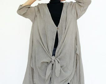 NO.212 Dusty Gray Cotton Gauze Three-Quarter Sleeves Cardigan, Button Front Top