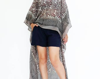 NO.134 Black, Red and Gray Cotton Hand Printed Scarf Kaftan Top