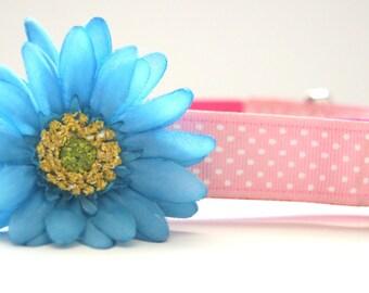 Blue Silk Dog Collar Flower