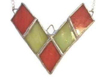 Rust and Green Stained Glass Chevron Necklace, Recycled Stained Glass Jewelry, kimsjoy, Gift for Her, Geometric, Rust and Green