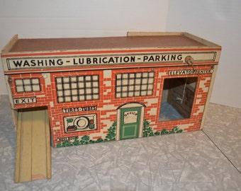 Vintage Service Station Toy ~ Toy Gas Station & Car Wash  ~ Vintage Toys ~ Epsteam