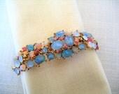 SWOBODA Genuine Blue and Pink Opals & Rubies BRACELET Gold Tone Vintage Designer Costume Jewelry Gift