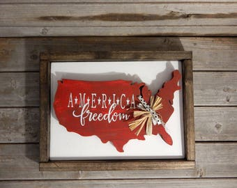 America wood framed sign... Patriotic decor... July 4th decor... Independence decor... Americana decor