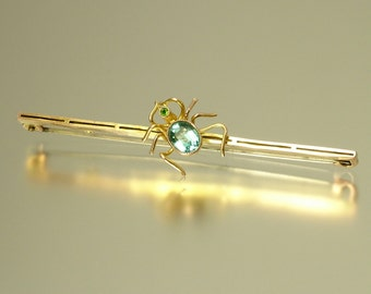 Vintage antique Victorian 1800s, 9ct 9kt gold and paste set, spider bug insect, brooch pin - jewellery, estate jewelry, Birmingham 1872