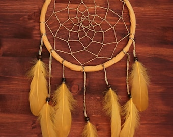 Golden Dreams - Dream Catcher with Sparkling Web and Yellow Feathers - Bohemian Home Decoration - Nursery Dreamcatcher