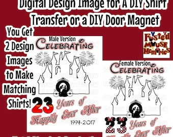 Printable Anniversary Disney Shirt Transfer - DIY Disney Shirts - Personalized Disney Anniversary Shirts  Disney Wedding Anniversary Iron On