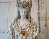 Large Virgin Mary statue w/ vintage crown shabby cottage chic Madonna figure painted rosary French Santos home decor anita spero design