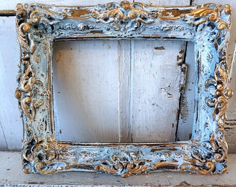 Ornate chalk ware picture frame shabby cottage chic painted French blue white distressed antique wall hanging home decor anita spero design