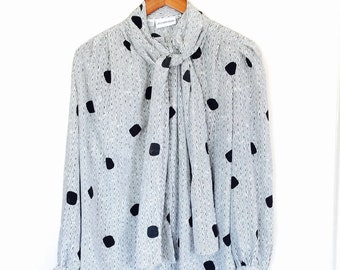 90s JH Collectables polka dot long sleeve blouse medium large