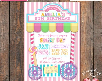 Candy Sweet Shoppe Theme Pink Birthday Invitation and Thank you Card