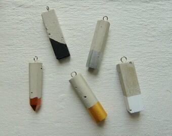 Concrete Pendants, Set of 5 Hand casting pendants, DIY Goncrete Necklace,