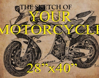 PERSONALIZED gift: 28x40 in. handmade sketch.YOUR MOTORCYCLE.Send me a photo of your motorcycle.Gift for bikers, fathers and boyfriends.