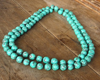 Long necklace - Bahia Del Sol - long necklace - turquoise beads - hippy - gypsy - boho - IBIZA - yoga - namaste - gypset jewelry - ethnic