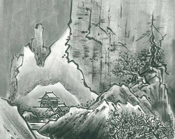 Mountain Zen, Wall Art, Home Decor, Japanese art, Landscape, Black and white, Minimalist, Wilderness, sumi-e, nature, original
