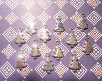 12 Silverplated Christmas Tree Charms