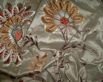 COLEFAX & FOWLER LOREDANA Jacobean Embroidered Silk Fabric 10 Yards Beige Multi