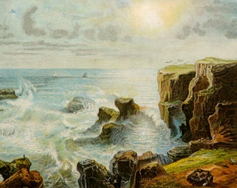 1882 Antique lithograph of a COASTAL LANDSCAPE. Waves. Sunrise. Winds. Meteorology. 135 years old gorgeous print