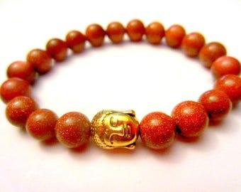 Buddha Bracelet Goldstone Bracelet. Yoga Jewelry. Buddhist Jewelry. Beaded Stretch Bracelet.
