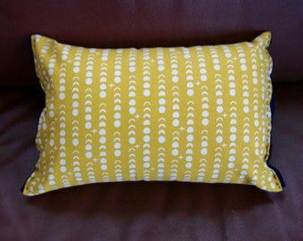 Organic Lumbar Pillow in gold crescents || Felt detailing hand stitched || canvas fabric || hypoallergenic