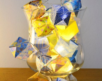 Origami lights with blue and yellow japanese papers - one-of-a-kind - 20 LEDs battery lights
