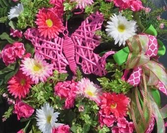 Spring Summer Wreath, Spring Summer Door Wreath, Spring Wreath for Front Door, Summer Wreath for Front Door, Mothers Day Wreath, Butterfly